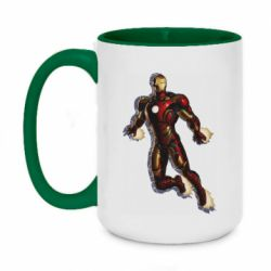 Кружка двухцветная 420ml Iron man with the shadow of the lines