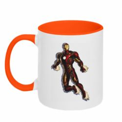 Кружка двухцветная 320ml Iron man with the shadow of the lines