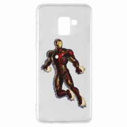 Чехол для Samsung A8+ 2018 Iron man with the shadow of the lines