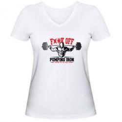 Женская футболка с V-образным вырезом Iron Pumping - FatLine