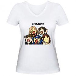 Женская футболка с V-образным вырезом Исидиси
