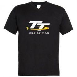 Мужская футболка  с V-образным вырезом Isle of man - FatLine