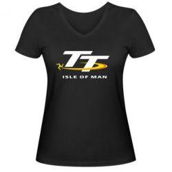 Женская футболка с V-образным вырезом Isle of man - FatLine