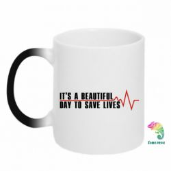 Кружка-хамелеон It's a beautiful day to save lives