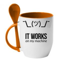 Кружка с керамической ложкой It works on my machine