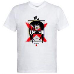 Мужская футболка  с V-образным вырезом Itachi Uchiha