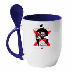 Кружка с керамической ложкой Itachi Uchiha