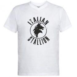 Мужская футболка  с V-образным вырезом Italian Stallion