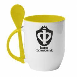 Кружка с керамической ложкой Ивано-Франковск эмблема