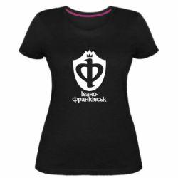 Женская стрейчевая футболка Ивано-Франковск эмблема