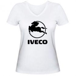 Женская футболка с V-образным вырезом IVECO