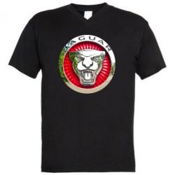 Мужская футболка  с V-образным вырезом Jaguar emblem