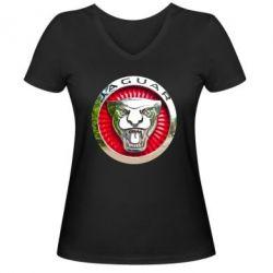 Женская футболка с V-образным вырезом Jaguar emblem