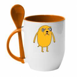 Кружка з керамічною ложкою Jake from  Adventure Time