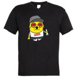 Мужская футболка  с V-образным вырезом Jake with bong - FatLine