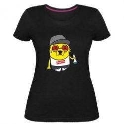 Женская стрейчевая футболка Jake with bong - FatLine