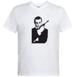 Мужская футболка  с V-образным вырезом James Bond - FatLine