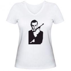 Женская футболка с V-образным вырезом James Bond - FatLine