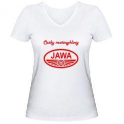 Женская футболка с V-образным вырезом Java Cesky Motocyclovy - FatLine