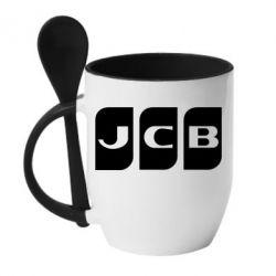 Кружка з керамічною ложкою JCB 2