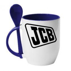 Кружка з керамічною ложкою JCB