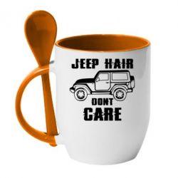 Кружка з керамічною ложкою Jeep hair don't care