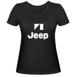 Женская футболка с V-образным вырезом Jeep Logo - FatLine