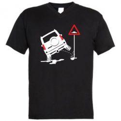 Чоловіча футболка з V-подібним вирізом Jeep pissing on the sign
