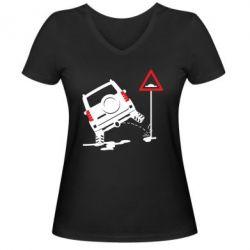 Жіноча футболка з V-подібним вирізом Jeep pissing on the sign