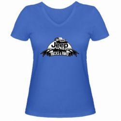 Женская футболка с V-образным вырезом Jeep rocks
