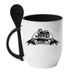 Кружка с керамической ложкой Jeep rocks