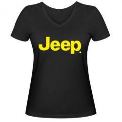 Женская футболка с V-образным вырезом Jeep - FatLine
