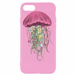 Чехол для iPhone 8 Jellyfish and flowers