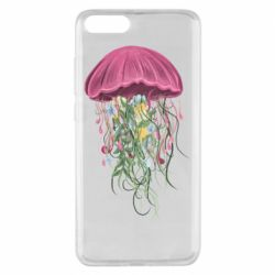 Чехол для Xiaomi Mi Note 3 Jellyfish and flowers