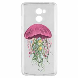 Чехол для Xiaomi Redmi 4 Jellyfish and flowers