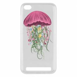 Чехол для Xiaomi Redmi 5A Jellyfish and flowers