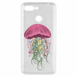 Чехол для Xiaomi Redmi 6 Jellyfish and flowers