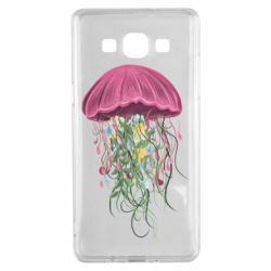 Чехол для Samsung A5 2015 Jellyfish and flowers