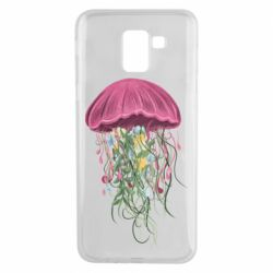 Чехол для Samsung J6 Jellyfish and flowers