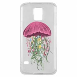 Чехол для Samsung S5 Jellyfish and flowers
