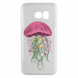 Чехол для Samsung S6 EDGE Jellyfish and flowers