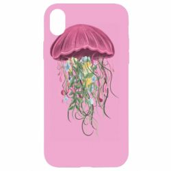 Чехол для iPhone XR Jellyfish and flowers