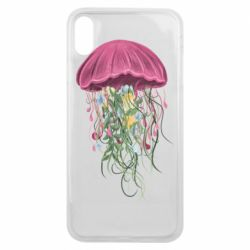 Чехол для iPhone Xs Max Jellyfish and flowers