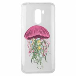 Чехол для Xiaomi Pocophone F1 Jellyfish and flowers
