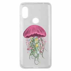 Чехол для Xiaomi Redmi Note 6 Pro Jellyfish and flowers