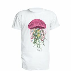 Удлиненная футболка Jellyfish and flowers