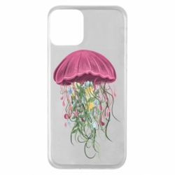 Чехол для iPhone 11 Jellyfish and flowers