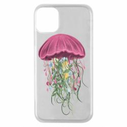 Чехол для iPhone 11 Pro Jellyfish and flowers