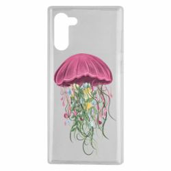 Чехол для Samsung Note 10 Jellyfish and flowers
