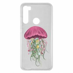 Чехол для Xiaomi Redmi Note 8 Jellyfish and flowers